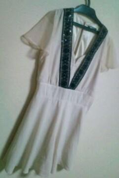 used美品「spiral girl」 V字刺繍×スパン パンツinミニフレアワンピ