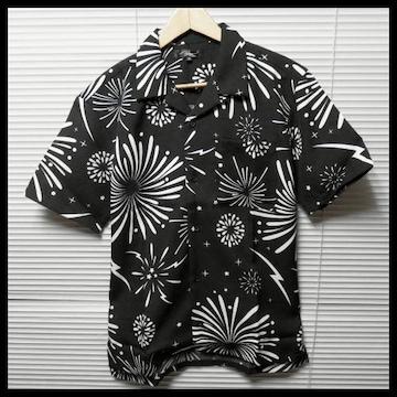 花火柄オープンカラーシャツ/BLK/M 開襟 半袖