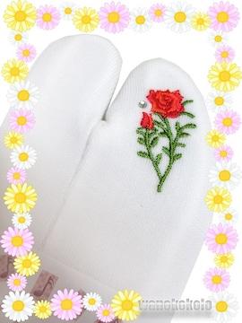 【和の志】誕生花シリーズ◇ストレッチ刺繍足袋◇6月・薔薇