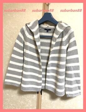 ☆GAPギャップ☆美品♪ボーダーフードトッパ—ニットカーデ☆