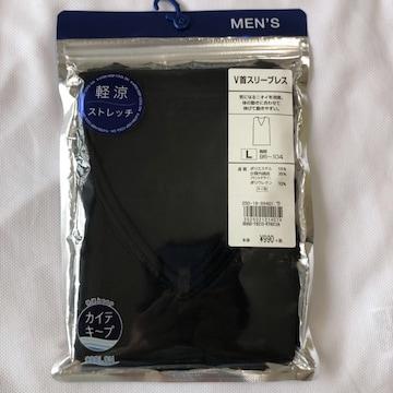新品 V首スリーブレス 黒 L