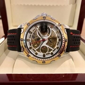 スケルトン☆WINNER スポーティーなメンズ自動巻きラバー腕時計♪金枠ホワイト
