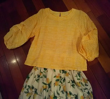 MAGGY(グラン山貴)黄色ギンガムチェック☆ブラウス☆美品☆格安