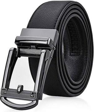 NEWHEY ベルト メンズ 革 ビジネス オートロック式 バックル 穴