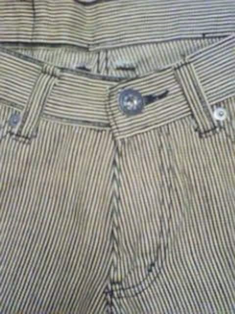 Aー182★新品<Sale>クラッシュ加工ヒッコリーパンツ 82 < 男性ファッションの