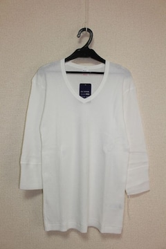 ヘルスニット*Healthknit★ワッフルVネック7分袖Tシャツ(M)/新品