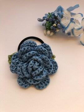 ハンドメイド ヘアゴム ブローチ レース糸で編んだ薔薇♪ ブルー
