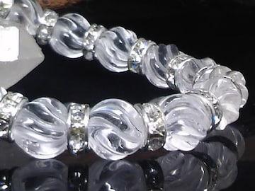 人気天然石§トルネード水晶10ミリ銀ロンデル数珠