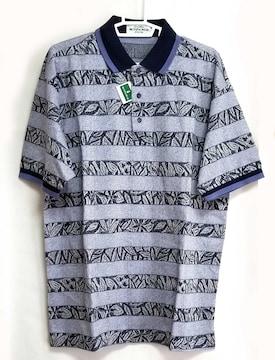 正規マンシングウェアポロシャツ半袖メンズブルー柄Lネ