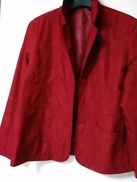 美品Lサイズ 刺繍入りジャケット 渋赤 レターパック360