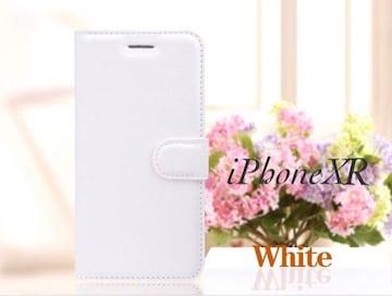 iPhoneXR 手帳型ケース レザー 液晶フィルム カード入れ 白