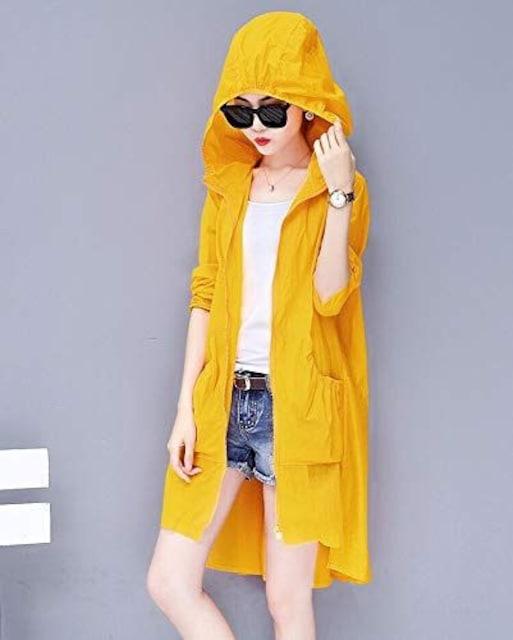 日焼け対策!! フード付きロングカーディガン(L寸・イエロー) < 女性ファッションの
