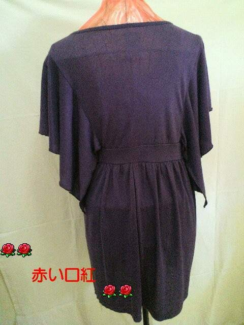 M〜LLサイズ*パピヨン・フリルスパンコール・ロングチュニパープル < 女性ファッションの
