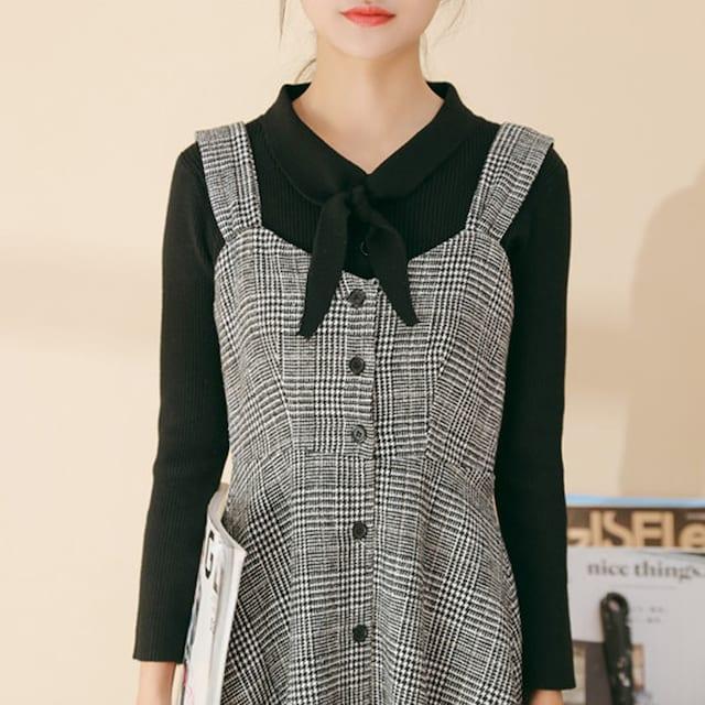 グレンチェック柄 ジャンパースカート ロング サロペット < 女性ファッションの