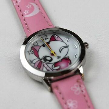 【夏先取りセール】★猫柄腕時計 ウィンクネコ ピンク Wa02pi