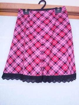 ピンク チェック Aライン レース付き スカート S 制服系 N2m