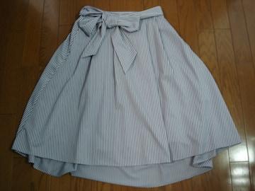 組曲 大人かわいいストライプ柄アシメトリーデザインスカート