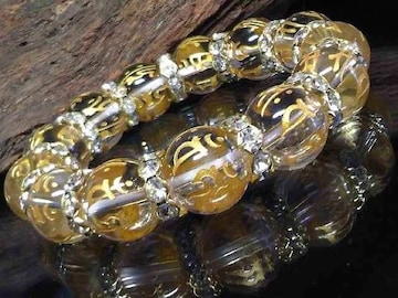 守り本尊十二支梵字水晶14ミリ波形金ロンデル