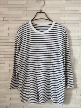 即決/ユニクロ/メンズ/丸首ボーダー七分袖Tシャツ/白ネイビー/M