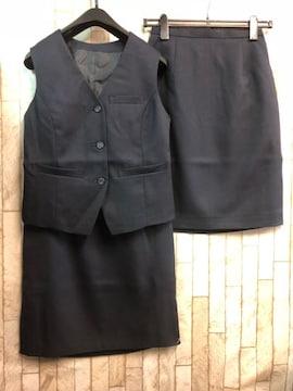 新品☆7号お仕事ベストスーツ紺同スカート2枚付!オフィス☆n286