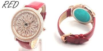 スピナー シチズンMIYOTAMM 革ベルト レディース腕時計 RED