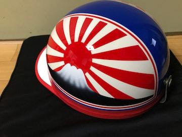 赤白 富士日章 コルク半 ヘルメット 軽スロ 三段シート 風防