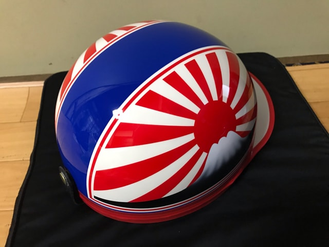 赤白 富士日章 コルク半 ヘルメット 軽スロ 三段シート 風防 < 自動車/バイク