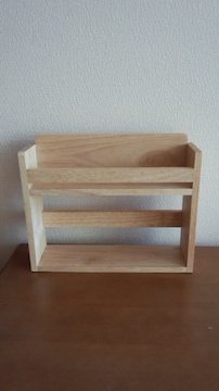 カントリー雑貨調味料棚2段木製21×21×7センチ