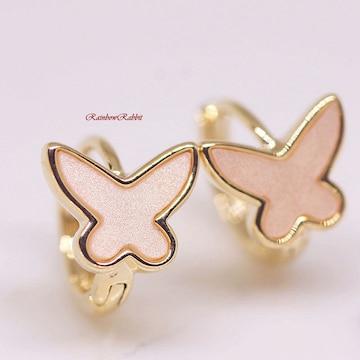 18K RGP ゴールド 薄ピンク 蝶々 リング ピアス gp5333