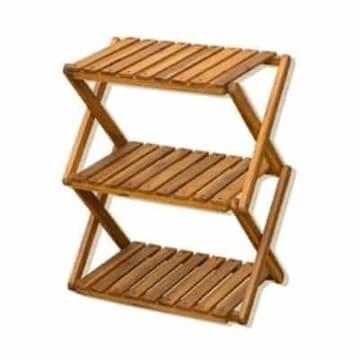 アカシア 折り畳みラック 3段 UNL-06-BR ブラウン