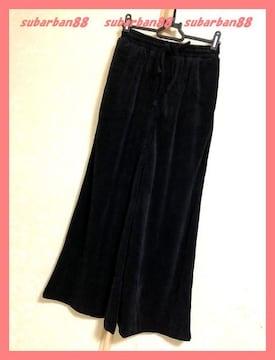 ☆イング☆新品4212円♪柔らかベロアワイドパンツ黒☆