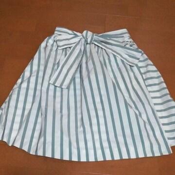 ビーラディエンス ストライプ リボン 巻きスカート風