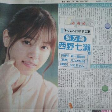 日刊スポーツ◇西野七瀬 日曜日のヒロイン 2020.7.26