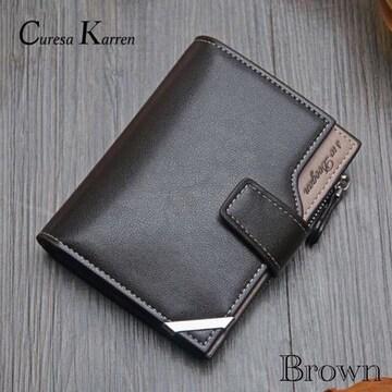 財布 二つ折り財布 レザー 札入れ 小銭入れ カード入れ 茶色
