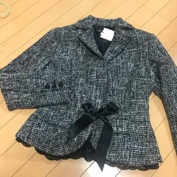 新品 サテンリボン&裾レース付 ツイードジャケット 11号L 入学式