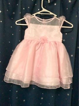 薄いピンク花リボンスパンコール可愛いドレス98センチ結婚式に