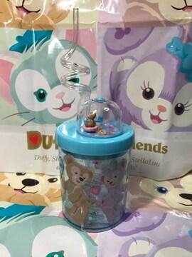 ★.+°香港ディズニー★ダッフィーストロー付プラスチックカップ