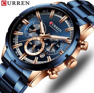 新作正規CURREN腕時計◆ゴールドMIX BIGフェイス◆海外限定