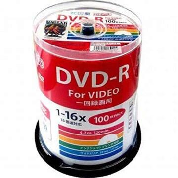 スピンドルケース100枚 HI-DISC 録画用DVD-R HDDR12JCP100 (CPRM
