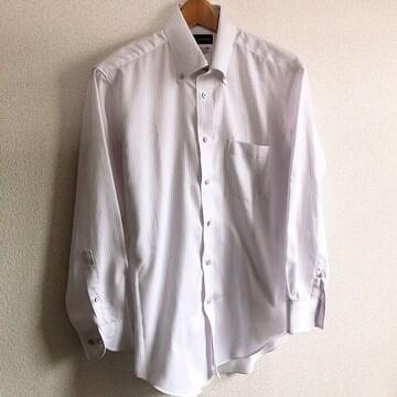◆ビジネス用ワイシャツ◆メンズM-80/ホワイト×ストライプ★作業用など
