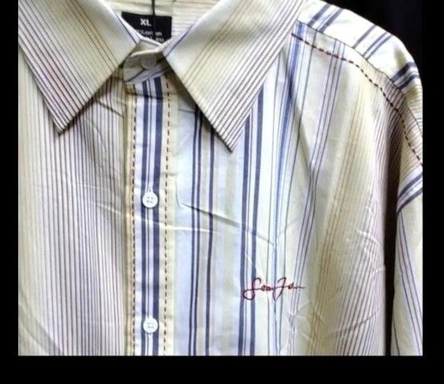 セール新品ステッチ個性派ストライプロングシャツ★seanjohnショーンジョンxlイエロー < ブランドの