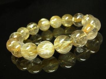 黄金針水晶タイチンルチルクォーツブレスレット 12ミリ天然石数珠 最強