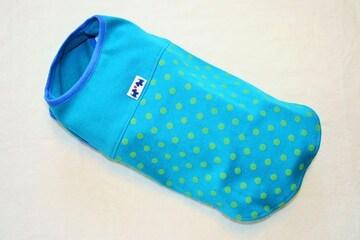 水玉ノースリーブTシャツ胴45cmダックス用(ブルー)