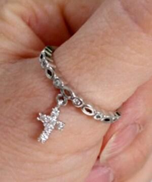 新品[7863]18号(大きいサイズ)小さな十字架クロス付きリング/指輪