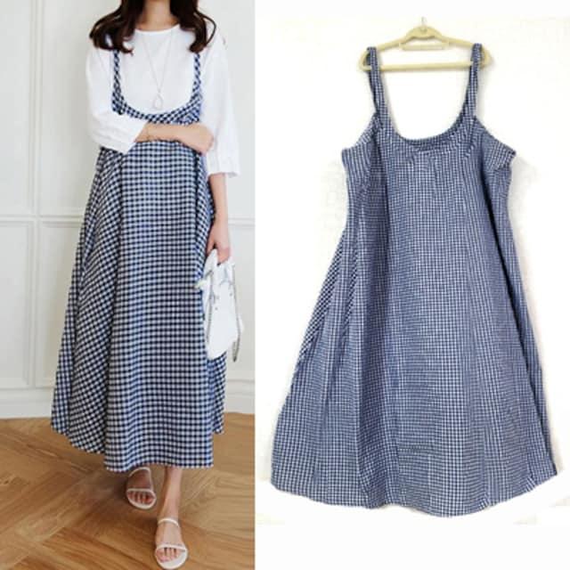 新品[7831]5XL(大きいサイズ)紺チェックロングジャンスカ/ワンピ  < 女性ファッションの