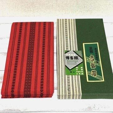 新品 吉弥帯 筑前博多織 正絹 半幅帯 朱赤