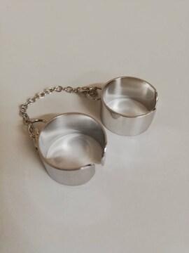 2連リング 指輪 シルバー フリーサイズ