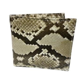 パイソン 財布 メンズ 両面 蛇革 艶有り 二つ折り財布T3298-PYS