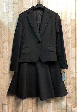 新品☆5号プチサイズ黒無地フレアスカートスーツ☆s851