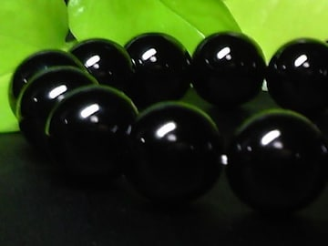 天然ブラックオニキス14ミリ§黒瑪瑙数珠